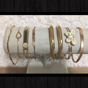 Collection of Gold AVON Bracelets Butterfly & More